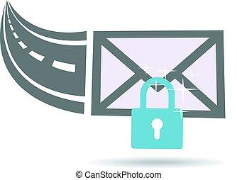 communicatie, encrypted, door, internet, logo, email, snelweg