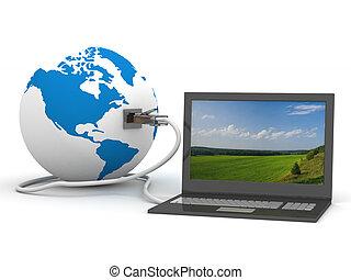 communicatie, globaal, world., image., 3d