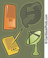 communicatie, groene, iconen