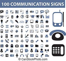 communicatie, honderd, tekens & borden