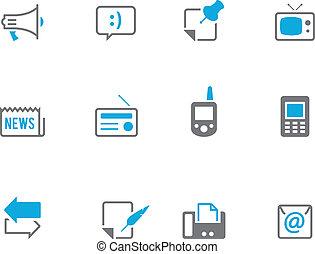 communicatie, iconen, duotone, -, meer