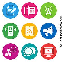 communicatie, iconen, kleur