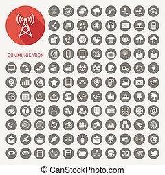 communicatie, iconen, met, zwarte achtergrond