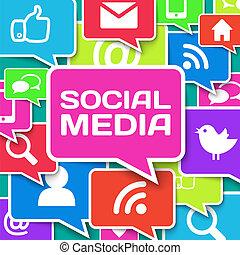 communicatie, iconen, op, blauwe achtergrond