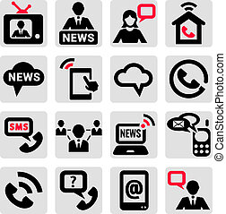 communicatie, iconen, set