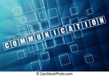 communicatie, in, blauw glas, blokje