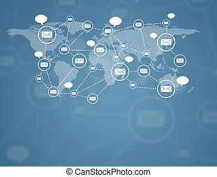 communicatie, in, globaal, computernetwerken