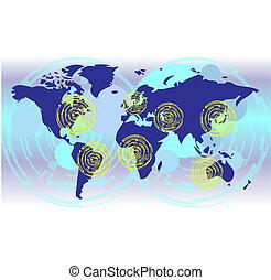 communicatie, kaart, wereld