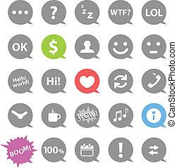 communicatie, komisch, toespraak, wolken