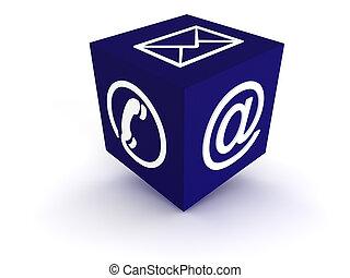 communicatie, kubus, blauwe