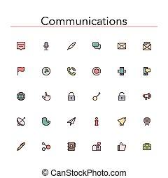 communicatie, lijn, gekleurde, iconen