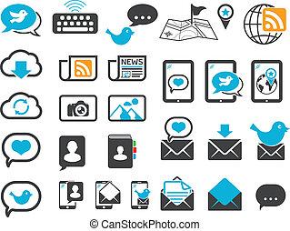 communicatie, moderne, iconen
