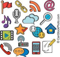 communicatie, multimedia, set, iconen