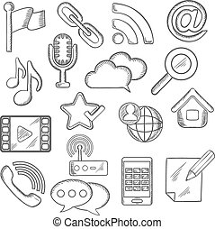 communicatie, multimedia, sketched, iconen