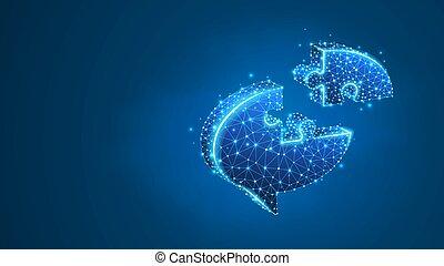 communicatie, neon, netwerk, poly, praatje, wolk, blauwe , abstract, concept., jigsaw, laag, digitale , bel, 3d, wireframe, dialoog, puzzle., lijn, symbool, illustration., maas, vector, sociaal, punt