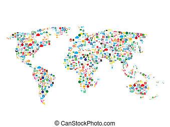 communicatie, netwerk, globale netten, sociaal
