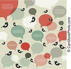 communicatie, retro, infographics, vogel, backgroung