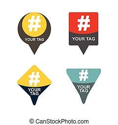 communicatie, set., illustratie, meldingsbord, abstract, hashtag, jouw, design.
