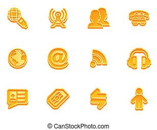 communicatie, set, pictogram