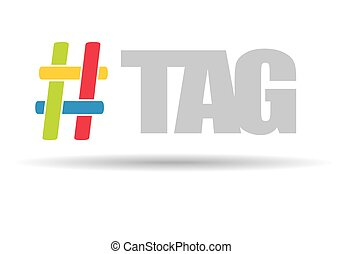 communicatie, teken., hashtag