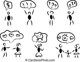 communicatie, tekstballonetje, mensen