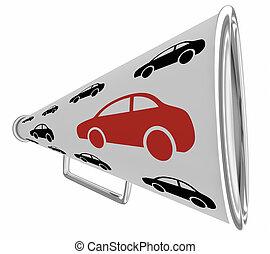 communicatie, voertuig, 3d, illustratie, alarm, bullhorn, auto, megafoon, auto