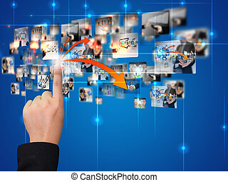 communicatie, voortvarend, zakelijk, hand