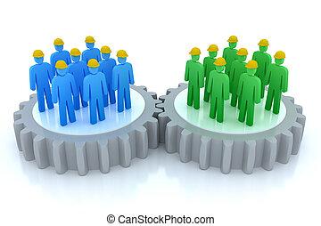 communicatie, werken, handel speelt samen