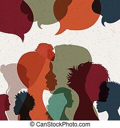 communicating., beszéd, árnykép, emberek, bubble., community...