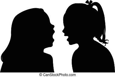 communicating girls silhouette vect
