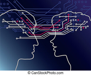 Vector illustration of two communicating people