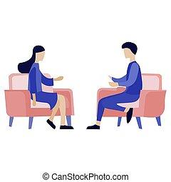 communicating., vector, imagen, gente, dos, ilustración