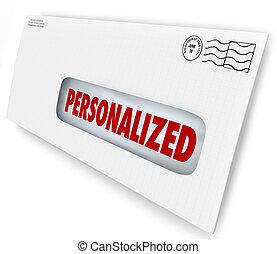 communicatio, sobre, mailed, mensaje, único, personalized, ...