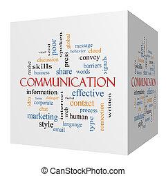 Communication 3D cube Word Cloud Concept