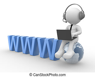 Communication - 3d people - man, person with headphones and...