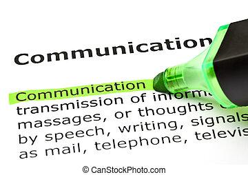 'communication', aangepunt, in, groene