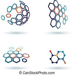 communication affaires, résumé, icônes, concepts, hexagonal