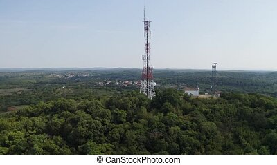 Communication and marine radar tower on top of mountain