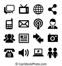Communication and Social Icons Set. Vector