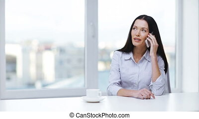 woman with cell phone making a call - communication and...