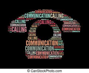 communication, appeler, texte, collage, composé, dans, les,...