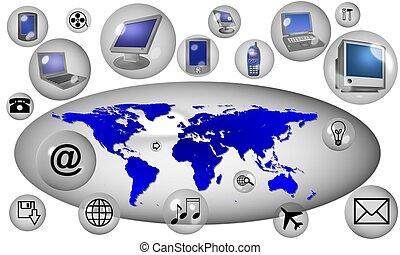 communication, autour de, mondiale