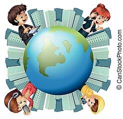 communication, autour de, mondiale, gens