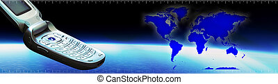 Communication Banner - Communication banner and world map on...