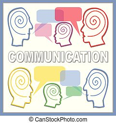 Communication banner with people heads line silhouettes and...