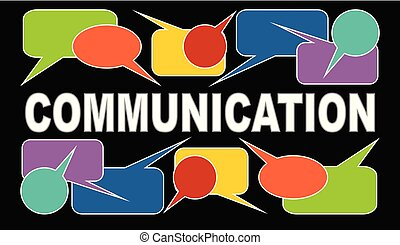 Communication banner with white headline and multicolored...