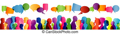 Illustration with crowd chatting. Communication between a group of people. Profile of colorful silhouette people talking with speech bubble. Multiple exposure