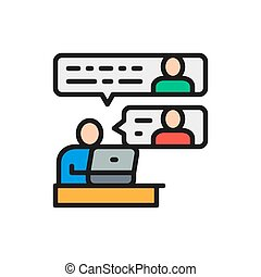 Communication between team members flat color line icon.