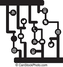 communication - black and white communition sign with icons....