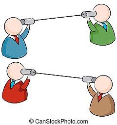 communication, boîte en fer-blanc